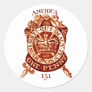 Timbre fiscal de 1765 americanos pegatina redonda