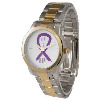 Time 2 Hope Purple Awareness Ribbon Wrist Watch