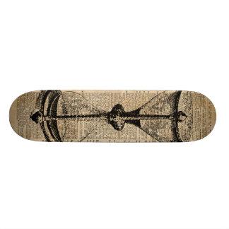 Time,antique Hourglass,sandglas Vintage Book Page Skateboard