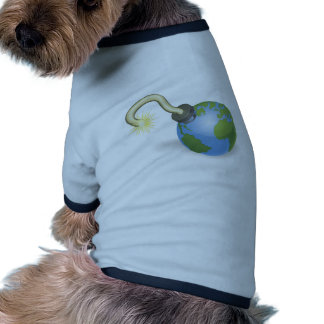 Time bomb in shape of  world globe concept doggie tee shirt