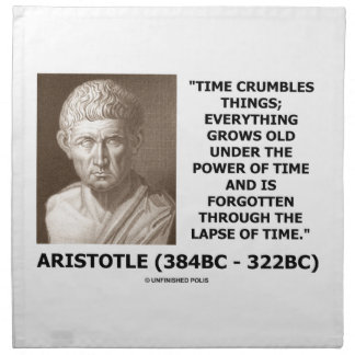 Time Crumbles Things Grows Old Aristotle Quote Cloth Napkin