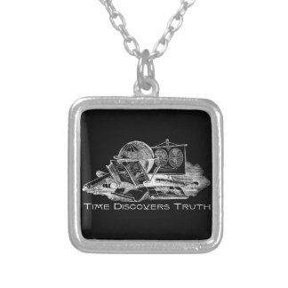 Time Discovers Truth Square Pendant Necklace