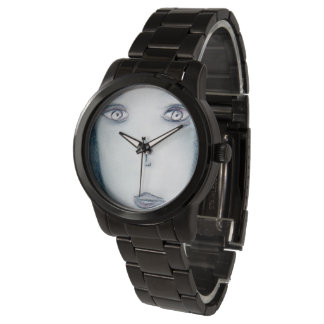 Time Face Amber, Chalk Drawing, Bracelet Watch