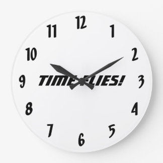 Time Flies!-Black and White Large Clock