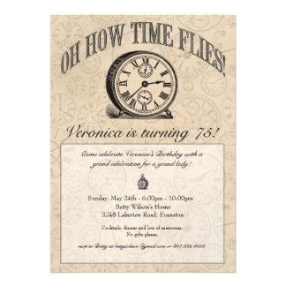 Time Flies Clock Invitation - Vintage