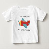 Time flies, Cute Aeroplane, I'm One, 1st Birthday Baby T-Shirt