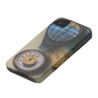Time Flies Dirigible Steampunk Clock Air Ships iPhone 4 Case
