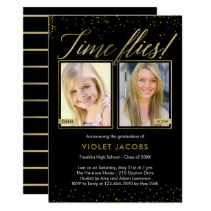 Graduation invitations zazzle time flies editable color graduation invitation filmwisefo