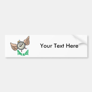 Time Flies ~ Flying Alarm Clock Word Play Bumper Sticker