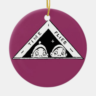 Time Flies for Brownies Having Fun Double-Sided Ceramic Round Christmas Ornament