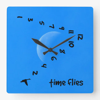 Time flies in the sky square wall clock