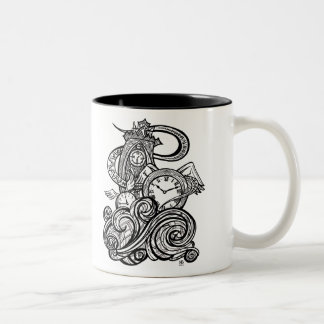 Time Flies Intricate Clock Tower illustration Two-Tone Coffee Mug