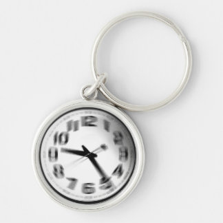 Time flies. Silver-Colored round keychain