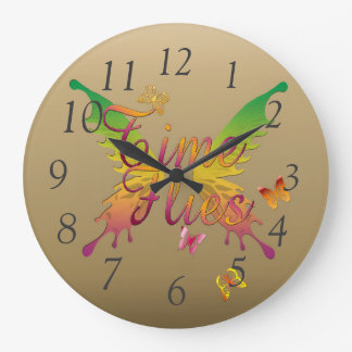 Time Flies Large Clock