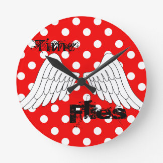 Time Flies Red with white polka dots clock