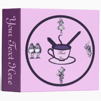 Time for a Mad Tea Party Plum 3 Ring Binder