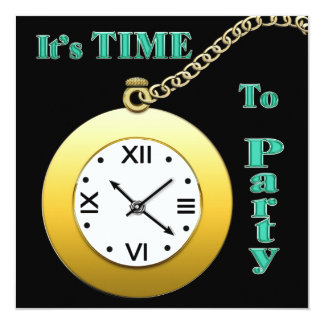"TIME FOR A PARTY INVITATION - WATCH 5.25"" SQUARE INVITATION CARD"