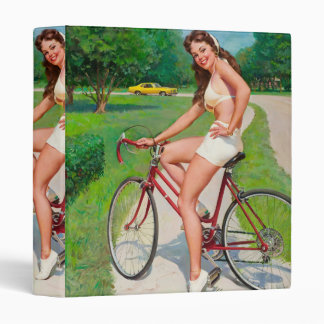 Time for a Ride - Retro Pin-up Girl 3 Ring Binders