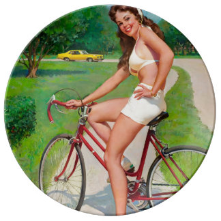 Time for a Ride - Retro Pin-up Girl Porcelain Plate