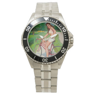Time for a Ride - Retro Pin-up Girl Wristwatch