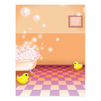 time for a rubber ducky tubby postcard