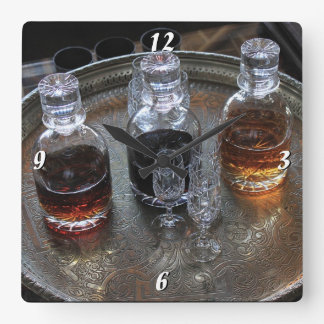 Time for a Tipple Drinks Decanter Photographic Square Wall Clock