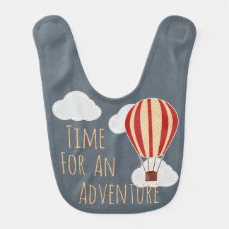 Time For An Adventure Hot Air Balloon Clouds Bib