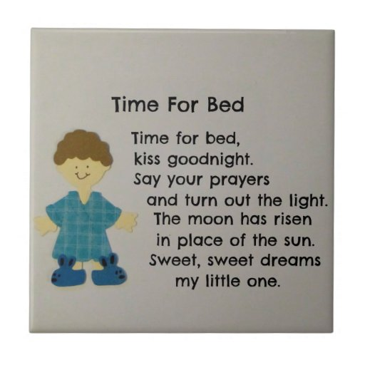 Time For Bed (Children) Small Square Tile