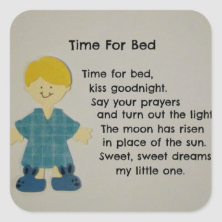 Time For Bed (Children) Square Sticker