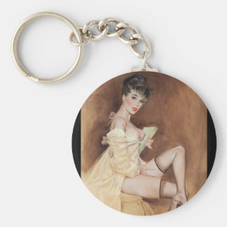 Time for Bed Pin Up Art Keychain