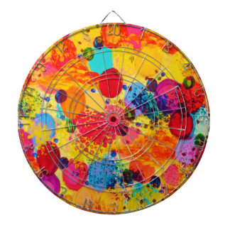 TIME FOR BUBBLY 2 - Fun Fiery Orange Red Whimsical Dartboard With Darts