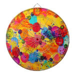 TIME FOR BUBBLY 2 - Fun Fiery Orange Red Whimsical Dartboards