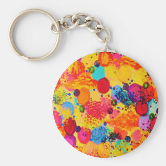TIME FOR BUBBLY 2 - Fun Fiery Orange Red Whimsical Keychain