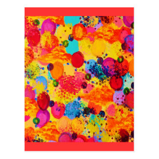 TIME FOR BUBBLY 2 - Fun Fiery Orange Red Whimsical Postcard