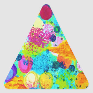 TIME FOR BUBBLY - Colorful Bright Bold Abstract Triangle Sticker