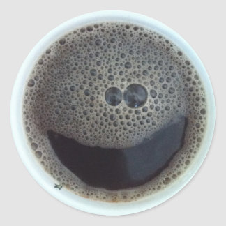 Time for coffee smiley face classic round sticker