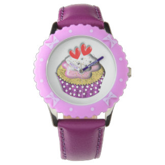 Time For Cup Cakes Cute Purple Polka Dot Picture Wrist Watch