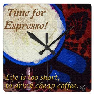 Time for Espresso! Square Wall Clock