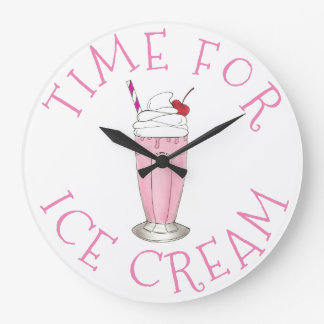 Time For Ice Cream Pink Strawberry Shake Milkshake Large Clock