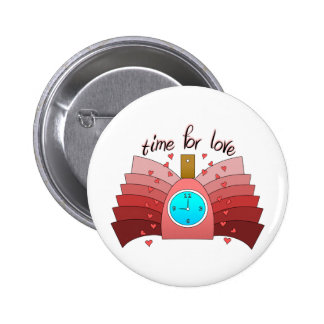 Time For Love With Perfume Bottle, Clock & Hearts Pinback Buttons