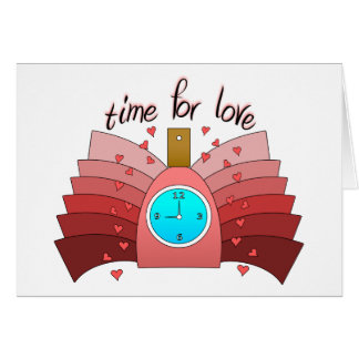Time For Love With Perfume Bottle, Clock & Hearts Greeting Card