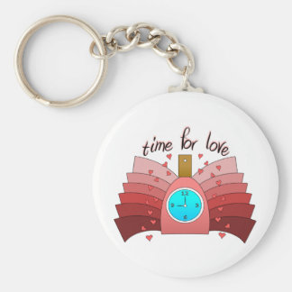 Time For Love With Perfume Bottle, Clock & Hearts Keychains
