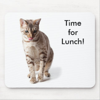 Time for lunch - lip licking bengal kitten mouse pad