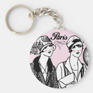 Time for Paris Basic Round Button Keychain