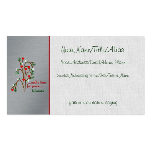 Time For Peace Double-Sided Standard Business Cards (Pack Of 100)