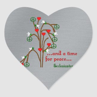 Time For Peace Heart Sticker