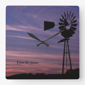 Time For Peace Wall Clock with Windmill in Sunset