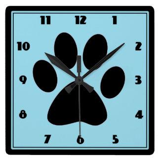 Time for Pets Light Blue Pawprint Clock