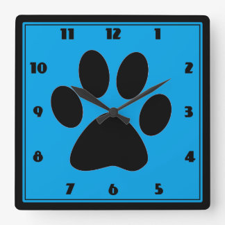 Time for Pets Medium Blue Pawprint Clock