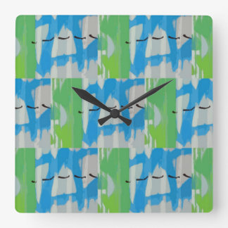 Time for Tagging Patchwork Square Wall Clock